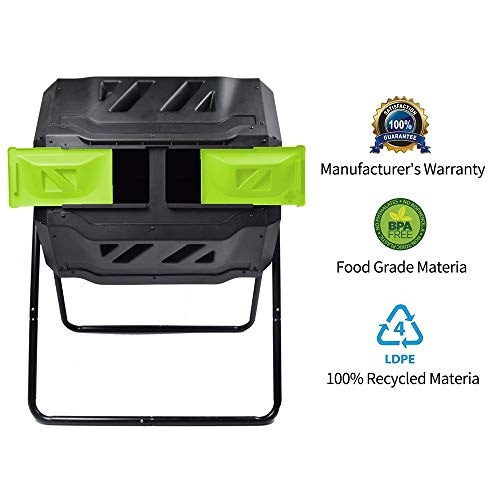 (Composting Tumbler - Dual Rotating Outdoor Garden Compost Bin, Easy Turn/Enough Height/Heavy Duty Capacity Composter(43 Gallon, Green))