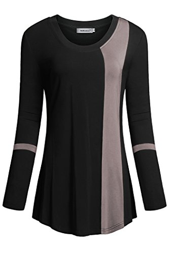 Helloacc Womans Long Sleeves Round Neck Color Block Loose