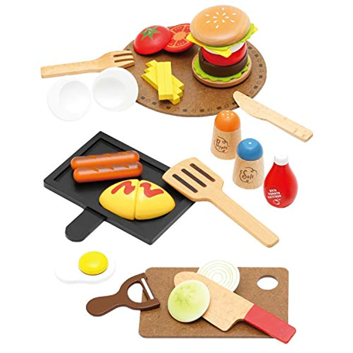 [해외] 【우디푸디직영 한정품】첫 소꿉놀이 양식 가게 세트DX 소꿉놀이 마그넷 목제 세트 인기 레스토랑 햄버거 해피버스데이 선물