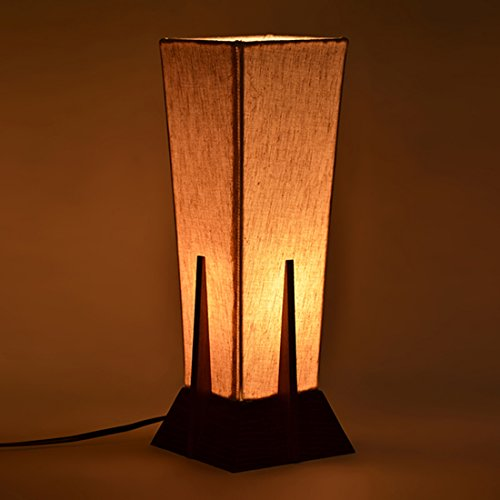 ExclusiveLane Sheesham Wood and Cotton, Polyvinyl Table Lamp – Brown and Off White