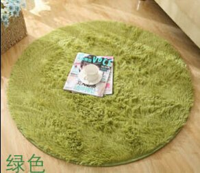 SVI Top Finel Hot High Quality Floor Mats Modern Shaggy Round Rugs and Carpets for Living Room Bedroom Carpet Rug for Home Yoga Mat apple green 80cmx80cm