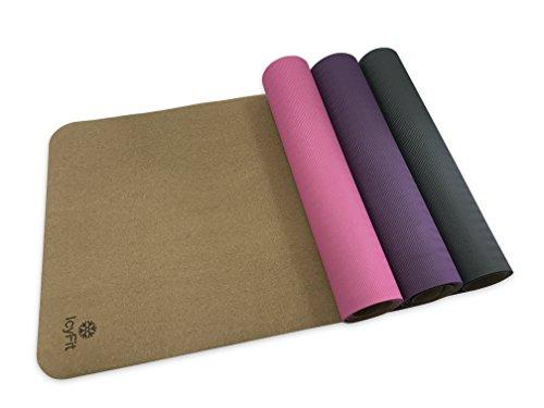 IcyFit Cork Yoga Mat 72' x 24'x 4mm, Non-slip, Eco-friendly Natural - PURPLE