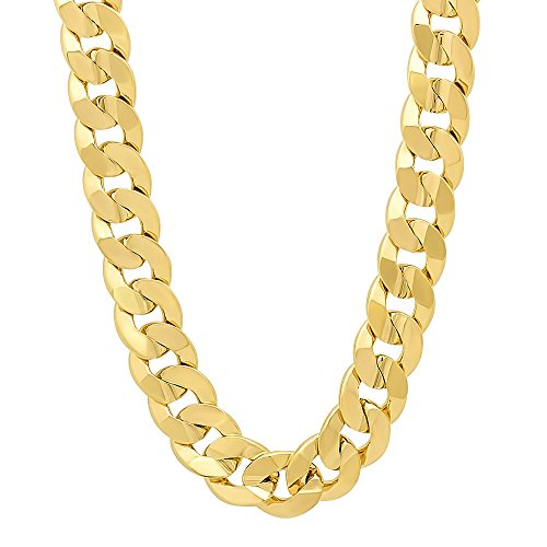 9mm 14k Gold Plated Concave Cuban Link Curb Chain Necklace, 30'' + Microfiber Jewelry Polishing Cloth by The Bling Factory