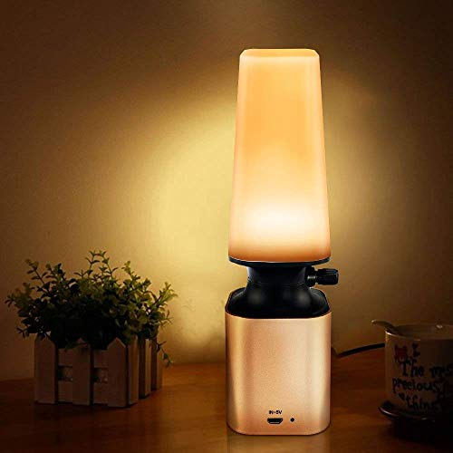(Anpress Retro LED Night Light Imitate Kerosene Oil Lamp Design with 10-Level Dimmer Control Knob Eye Care LED Desk Light USB Rechargeable Lamp for Reading/Home/Working/Office/Study)