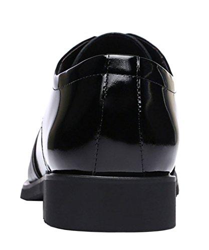 WUXING Men's New Shoelaces Splicing Business Leisure Shoes (9 D(M)US,black)