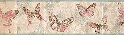 Wallpaper Border Abstract Butterflies Floral Damask Wall Decor Retro Classic 15' x 6.75""