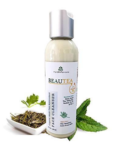 Natural Antioxidant Face Wash- BEAUTEA- for Sensitive [Acne-prone, Eczema-prone] skin - Enriched with Organic Multi-tea blend [Green Tea, White Tea and Rooibos] and Neem Oil- #1 Natural Face Cleanser