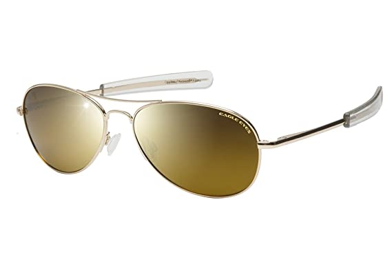 e1fdaac555cd6 Eagle Eyes FREEDOM Aviator Sunglasses - Polarized Oval Gold Rims with Gold  Mirrored Gradient Lenses