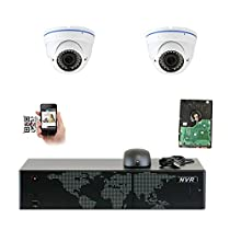 GW Security 5MP 1920p 8 Channel NVR Network Security Camera System - 2 x HD 5MP 1080P 2.8~12mm Varifocal Zoom Weatherproof Dome PoE IP Camera