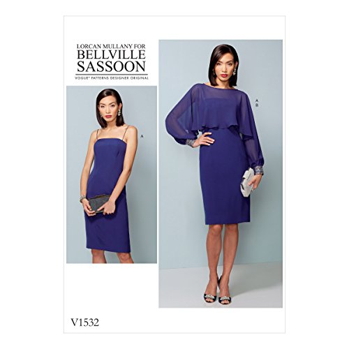vogue-v1532-6-14-sewing-pattern-ladies-tank-style-dress-frilled-long-sleeve-blouse-cover-up