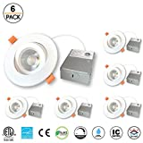 4 inches Gimbal LED Recessed Light with Junction Box, 15W,1000 Lumen, Tilt & Rotate, TRIAC Dimming, ETL & Energy Star Listed, 3000K Warm White, Pack of 6