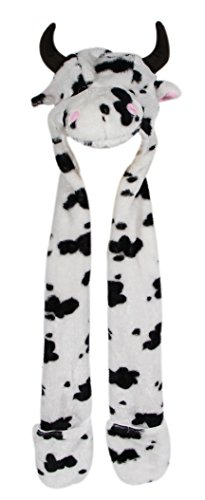 Cute Cow Costumes (Bioterti Plush Animal Hat: One Size Fits All Adults & Kids/ Soft, Warm Beanie Hat for Winter, Halloween, Christmas (Cow))