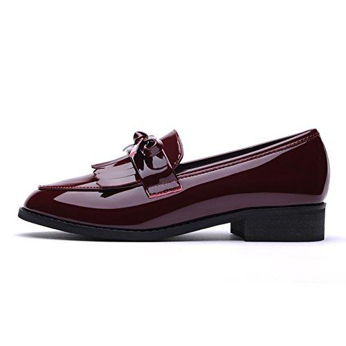 PUMPS Ladies Small Shoes,Studenten mit Schwarzem Flachen Schuhe-B Fußlänge=21.8CM(8.6Inch)