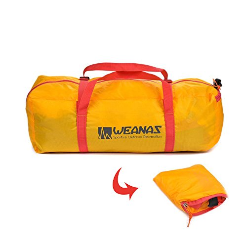 Weanas Foldable Tent Bag Ultra Lightweight Packable Outdoor Camping Duffel Bag with Zipper Handy Foldable Camping Tent Bag for Camping Hiking Outdoor Sports (Yellow, For 3-4 man tent)