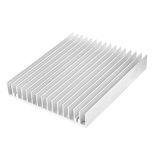 uxcell Aluminium Heat Diffuse Heat Sink Cooling Fin 120x100x18mm Silver Tone