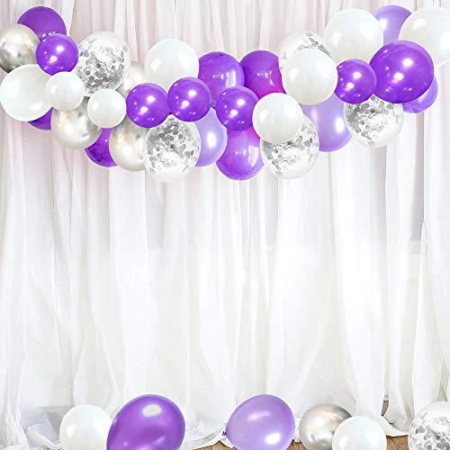 Ballon Anniversaire SKYIOL Violet Blanc Argent 30cm Hélium Métallique Confettis Ballons 10m De Ruban De Mariage Comme Enfants Fille Graduation Décoration De Fête De Douche De Bébé