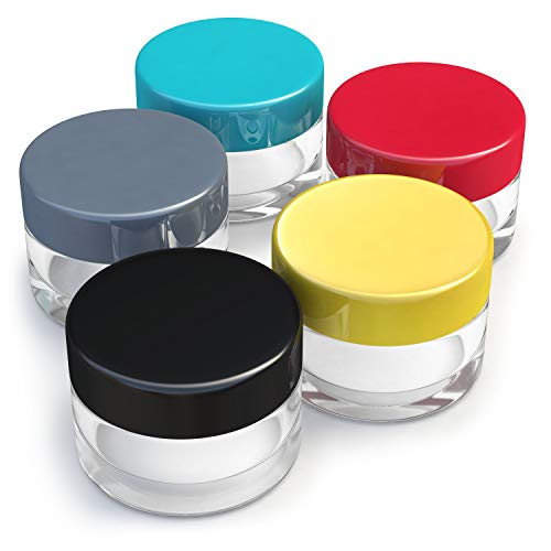 Small Size Empty Travel Jars - with Lids for Makeup, Lotion, Cream, Lip Balm and other Cosmetics, Superior Quality Sample Containers for Travel and ()