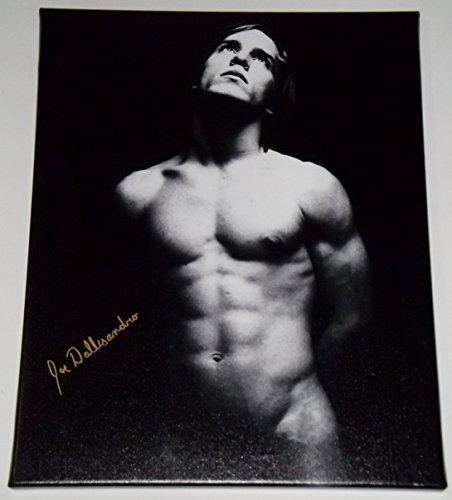 JOE DALLESANDRO Gold Ink Signed Nude 16x20 Canvas Art Photo on a Vintage Black & White Flesh / Trash / Heat Movie Era Image