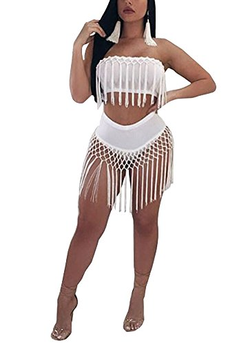 New Sexy Womens Outfit - Fadvanes Womens Sexy 2 Piece Outfits Set Tassels Sleeveless Crop Top and Shorts/Skirt Set Bodycon Club Wear White 2XL