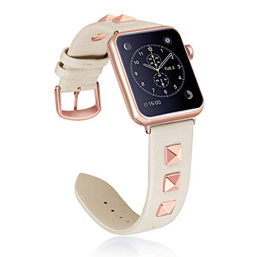 Dressy Leather Watch - WHLIHUSU Leather Band Compatible with Apple Watch Band 38mm/40mm S/M Genuine Dressy Leather Designer Replacement Bands with iWatch Series 4 3 2 1, Beige