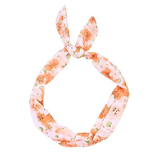Headbands,Rockabilly Wired Hairband Hoop Sweet Girls Retro Scarf Hair Accessories for Women (Orange)