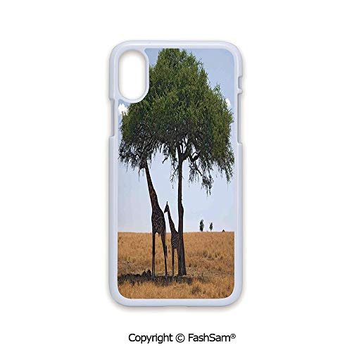 Fashion Printed Phone Case Compatible with iPhone X Black Edge Baby and Mom Giraffe Under The Tree The Tallest Animal Mammal in Savannah Nature Art 2D Print Hard Plastic Phone Case