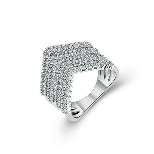 Multi Austrian Crystal - Mrsrui Multi Plain Bands Interlocked Stacked V Shape Knuckle Midi Ring for Women Austrian Crystal