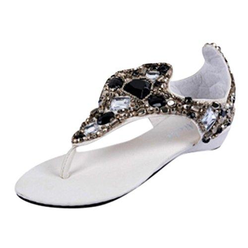 Ouneed® Damen Zehentrenner , Diamant Hang Mit Schuhe wulstige Sandalen Nationale Wind (36, Weiß)