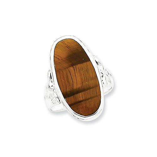 (925 Sterling Silver Oval Tiger Eye Band Ring Size 8.00 Fine Jewelry Gifts For Women For Her)