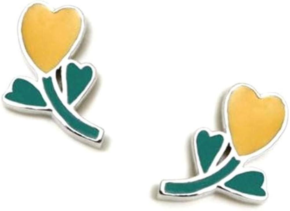 Pendientes plata Ley 925m Agatha Ruiz de la prada 10mm. colección Green corazón esmaltado [AC1564]