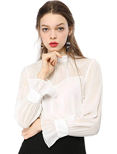 Allegra K Women's Chiffon Mesh Top Casual Loose Long Sleeve Ruffled Neck Blouse White L US - Neck Shirt Ballet