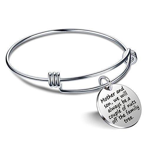 lauhonmin Mother Son Bangle Bracelet We Will Always be a Couple of Nuts Off The Family Tree