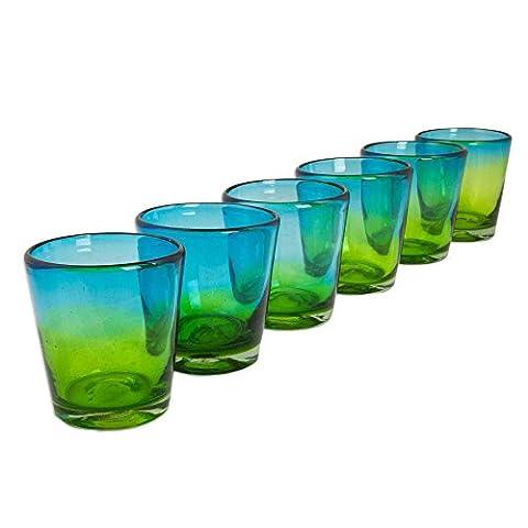 NOVICA Hand Blown Blue And Green Glass Rock Glasses 'Aurora Tapatia'