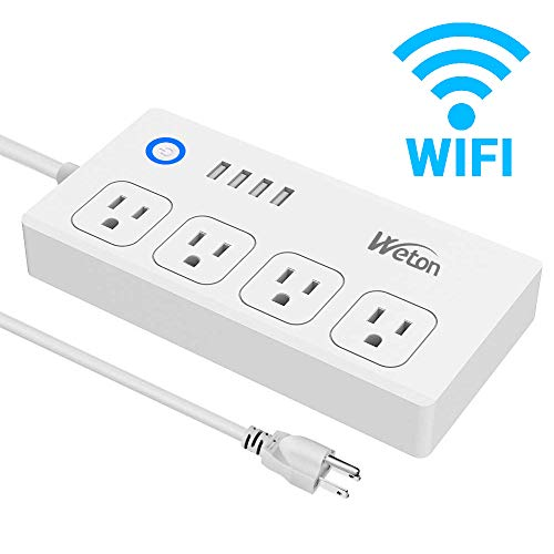 WiFi Smart Power Strip Socket with Alexa,Weton Wireless Multi-Plug Timer Switch Power Strip Surge Protector with 4 AC Outlets 4 USB Port Remote Control Via Free App for IOS/Android Smart Phone/Tablets