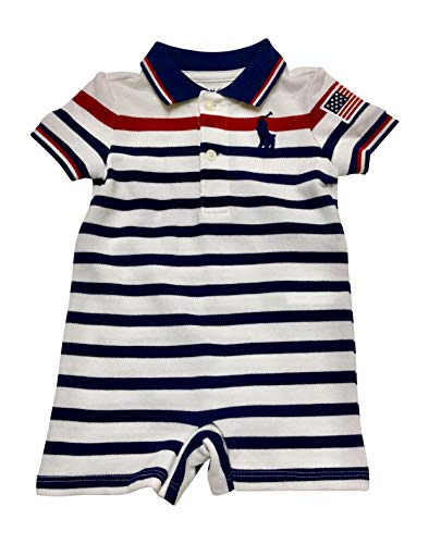 Ralph Lauren Baby Boys Big Pony Shortalls Bodysuit Striped Cotton Mesh (White Multi, 12 Months) (Ralph Lauren Baby Boy Bodysuit)
