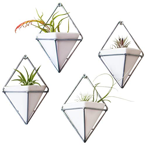 Hanging Triangle Wall Planters for Indoor Plants, Ceramic Vases with Screws, Set of 4 – Silver Geometric Succulent Air…