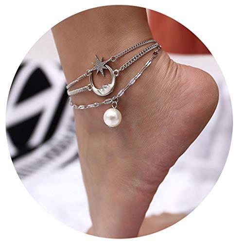 Eternal-Z Women Star Moon Crescent Anklet Bracelet Faux Pearl Beach Foot Chain Barefoot Sandal Adjustable Joker Jewelry for Girls (Silver)