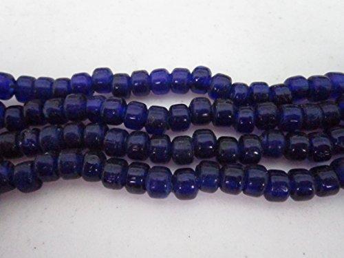 6mm Translucent Glass - Blue Translucent Glass Crow Pony Beads Jewelry Craft Bead Necklace 100 pcs 9 x 6MM