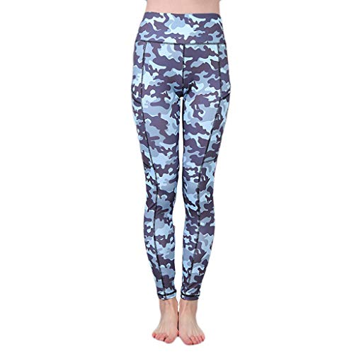 - iHPH7 Women's High Waist Printted Ankle Elastic Tights Legging Printed Camouflage Pockets Hip-Tightening Running Fitness Yoga Pants (M,1- Blue)
