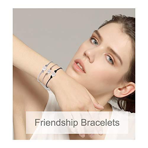 - Shonyin Waterproof Friendship Bracelets Single Pearl Black Cord Bracelets Handmade for Women Girls Teens 3pcs