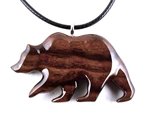 Grizzly Bear Pendant Necklace Totem Animal Jewelry Hand Carved in Bolivian Rosewood