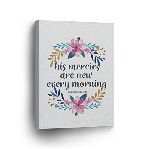 Lamentations 3:22 His Mercies are New Every Morning Quote Scripture Wall Art Bible Verse Canvas Print Home Decor Stretched Ready to Hang-%100 Handmade in The USA- 12x8 ()