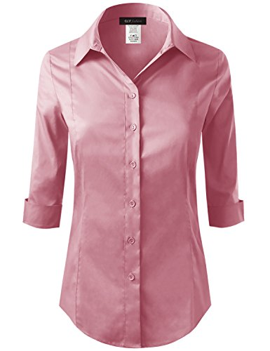 ELF FASHION Roll up 3/4 Sleeve Button Down Shirt for Womens Made in USA (Size S~3XL) Mauve S by ELF FASHION