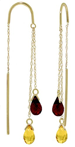 2.5 CTW 14k Solid Gold Threaded Dangle Earrings with Natural Citrine and Garnet (Earrings Garnet Cut Round Citrine)