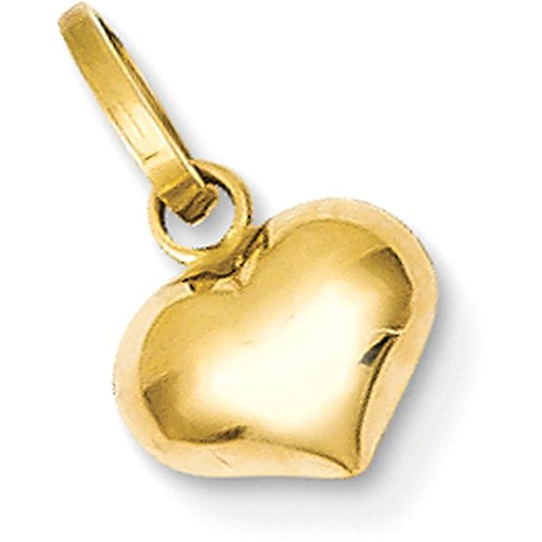 14k Gold Hollow Puffed Small Heart Pendant Charm - (Yellow Gold, 0.50 Inch ()