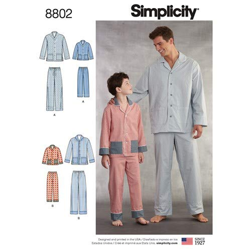 Simplicity 8802 / R10004 Boys & Mens Lounge PJ Pants and Shirt (Sizes S-L/XS-XL) Sewing Pattern