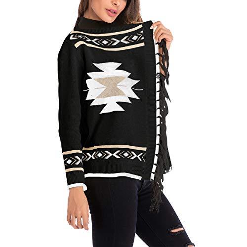 de Color de Coat borlas Geometría chaqueta para manga Causal mujer ZFFde M de punto Black impresión tamaño Invierno cardigan larga awnZE