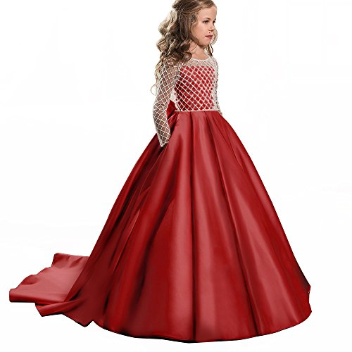 Christmas Fancy Flower Girl Dress Floor Length Button Draped Pink Long Sleeves Tulle Ball Gowns for Kids (10, Red) -