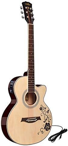 ギター 40インチの初心者フォークアコースティックギター見つからない初心者にはウッドギターインストゥルメント・エレクトリックボックスチューナーはじめに 初心者ギター (Color : Natural, Size : B)