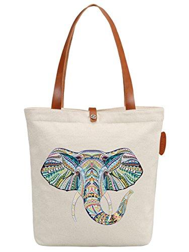 IN.RHAN Women's Cute Elephant Canvas Tote Bag Casual Shoulder Bag Handbag